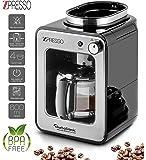 Cafetière automatique en acier inoxydable avec moulin à café intégré, capacité 4-6 tasses - 0,6 litres, plaque chauffante, filtre permanent