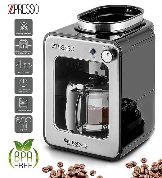 Cafetera con molinillo de café incorporado, de acero inoxidable, 4-6 tazas, café de filtro, 0,6 litros, placa calentadora, filtro permanente