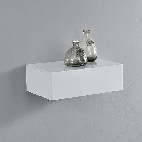 en.casa]® Wandregal mit Schublade - Weiß hochglanz - Nachttisch ...