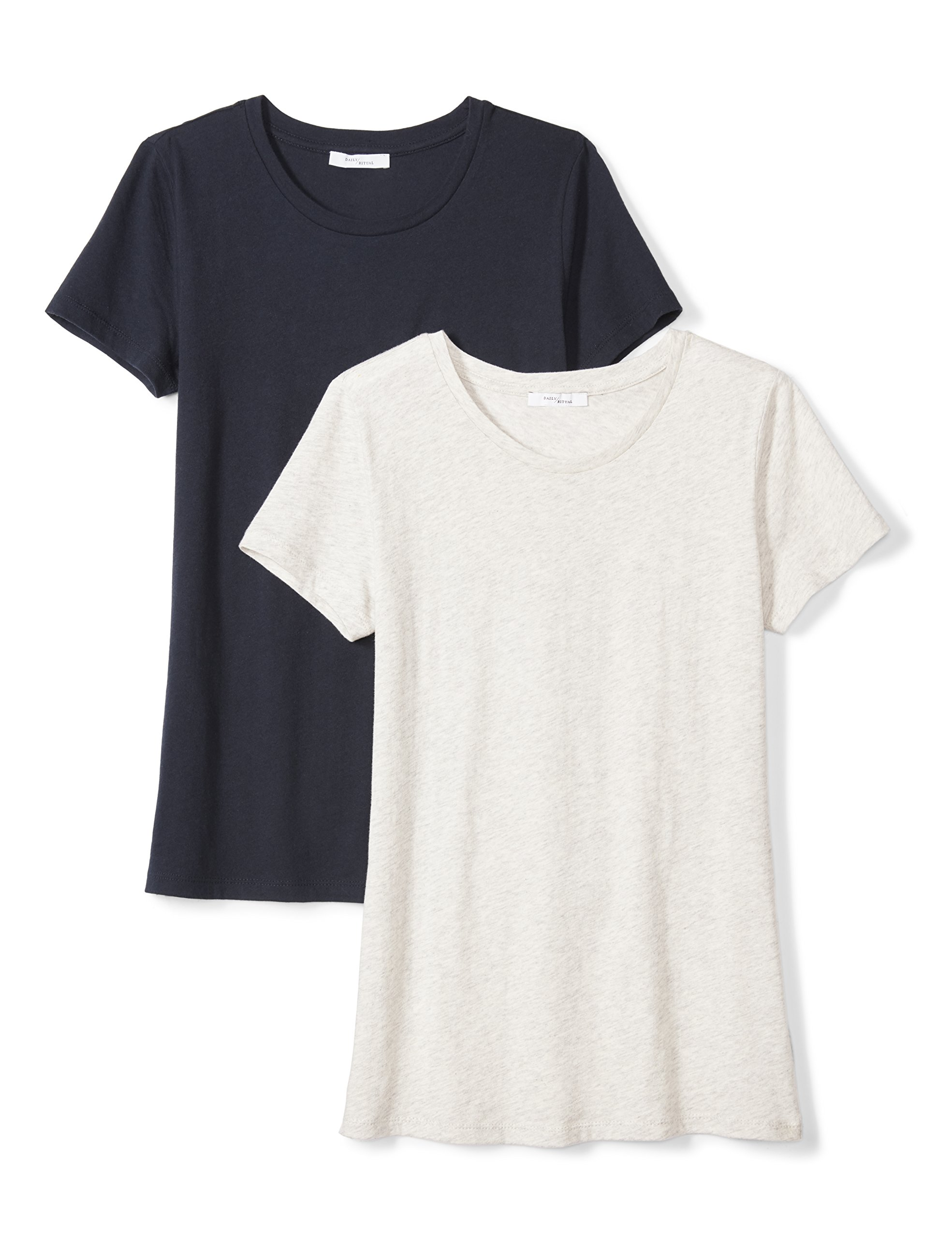 Daily Ritual Women's Tissue Cotton Short-Sleeve Crew Neck T-Shirt, 2-Pack, XL, Heather Grey/Navy