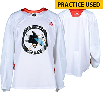 best service d13ab d862b San Jose Sharks Practice-Used White Adidas Jersey from ...