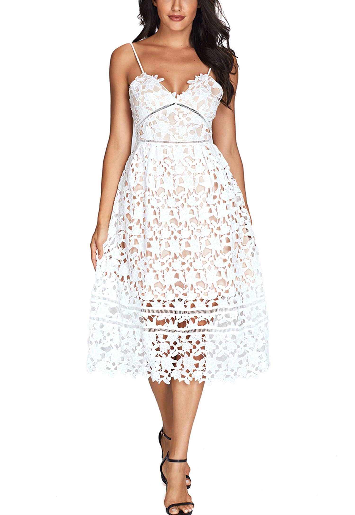 Sidefeel Women Strap Lace Midi Party Dress Large White