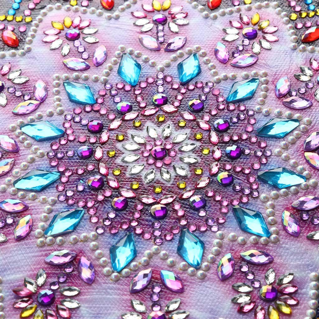 vmree Special-Shaped Partial Drill Rhinestone Embroidery Painting Crystals Pasted Handcraft Cross Stitch Handiwork Kits Visual Home Decor Mandalas - 02, 9.8/×9.8 DIY 5D Diamond Picture