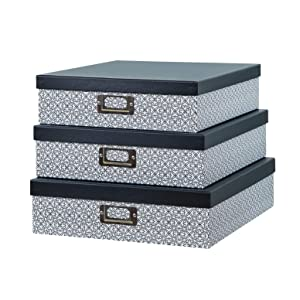 SLPR Decorative Storage Cardboard Boxes with Metal Plate (Set of 3, Black and White Ornament) | Nesting Gift Boxes with Lid for Keepsake Toys Photos Memories Closet Nursery Office Bedroom Decoration
