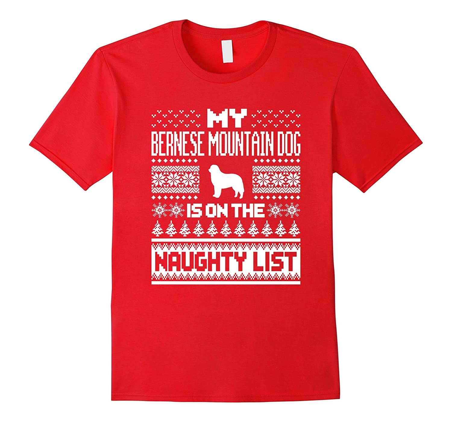 Bernese Mountain Dog On The Naughty List Christmas T-Shirt-T-Shirt