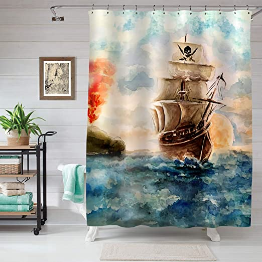 Watercolor Vintage Label With Ship Shower Curtain Liner Waterproof Fabric/& Hooks