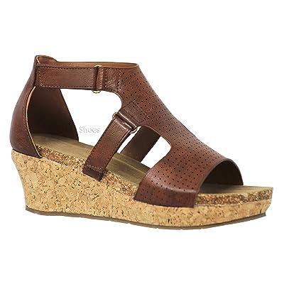 MVE Shoes Women's Medium Cork Wedge Open Toe Slide in Comfort Sandal   Sandals