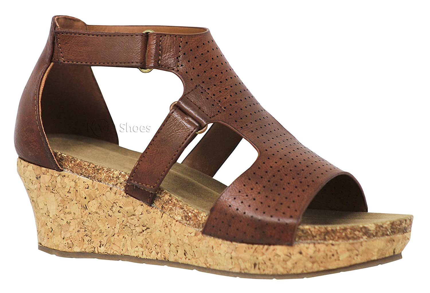 Whiskey5c MVE shoes Women Cut Out Open Toe Wedges-Comfy Sandals