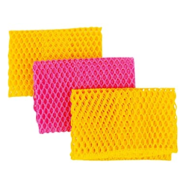 Innovative Dish Washing Net Cloths / Scourer - 100% Odor Free / Quick Dry - No More Sponges with Smell - Perfect Scrubber for Washing Dishes - 11 by 11 inches - 3PCS - Yellow/Pink/Yellow or Pink/Yellow/Pink