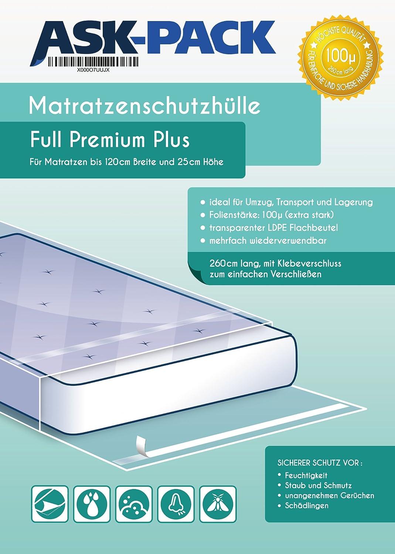 Bolsa de Colchón Full Premium para un Colchón de 120cm de ancho / 25cm grosor / y hasta 220cm largo - CON CIERRE ADHESIVO - reutilizable - Extra fuerte 100µ ...