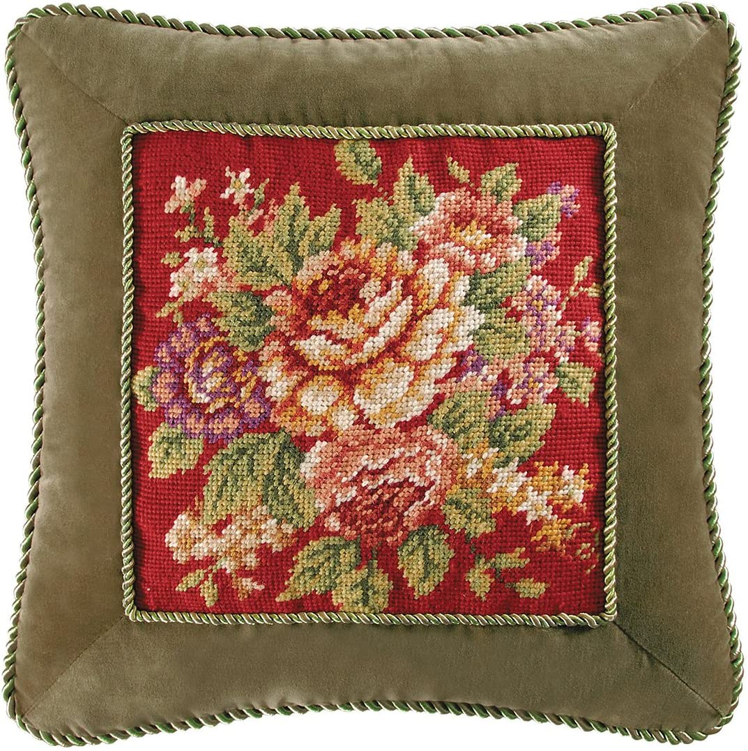 C F Home 441841915 Rossa Needlepoint Pillow with Cording, 16-Inch by 16-Inch