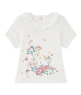 Petit Bateau Marinade Camiseta, Bebé-Niñas, Blanco (Marshmallow/Petal),