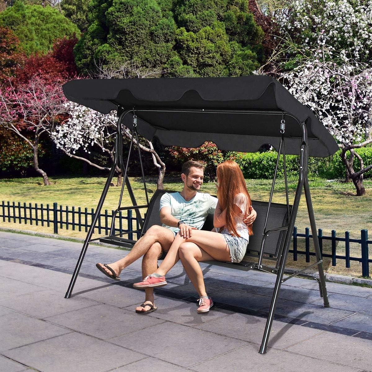 Gartenschaukel 3-Sitzer Schaukelbank Schwarz Schaukel Farbewahl GOPLUS Hollywoodschaukel mit Sonnendach