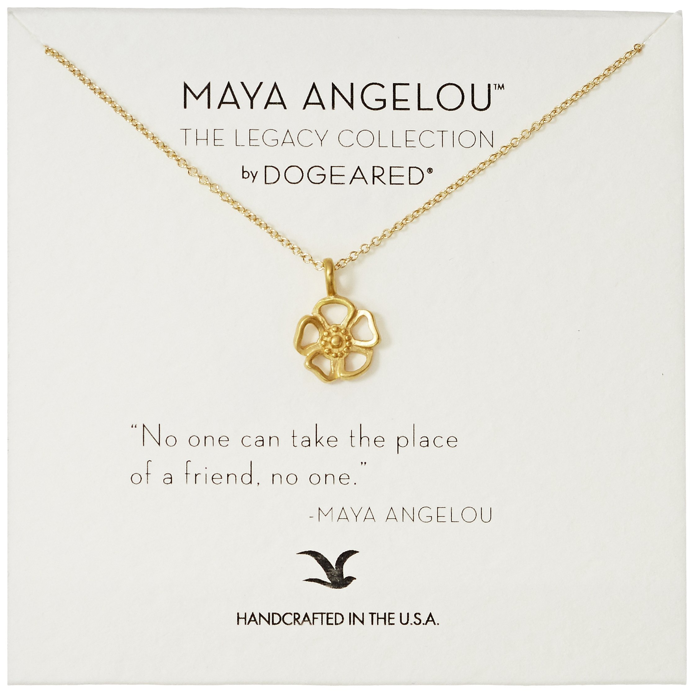 Dogeared Maya Angelou No One Can Take The Place of A Friend Cutout Flower Charm Gold Pendant Necklace