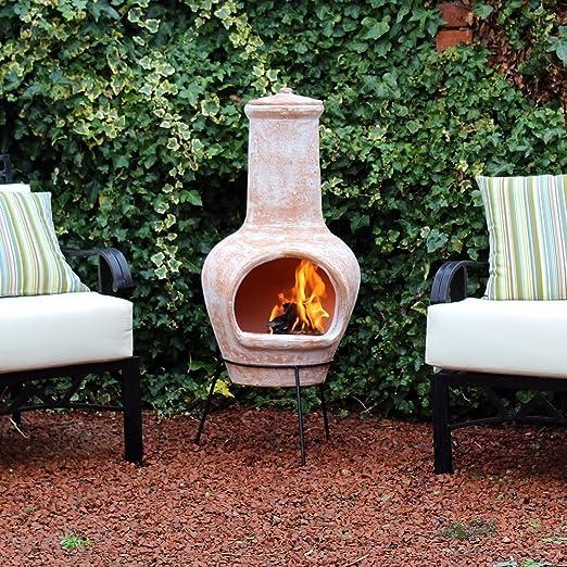 Grande terracota combustión de madera chimenea al aire libre muebles de jardín: Amazon.es: Jardín
