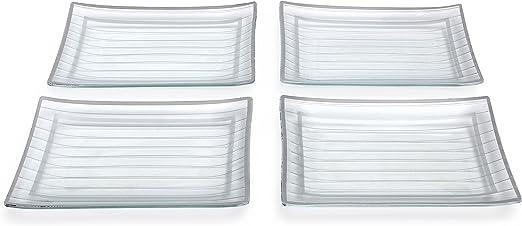 Amazon.com: GAC rectangular Plato Llano Set, Break de vidrio ...