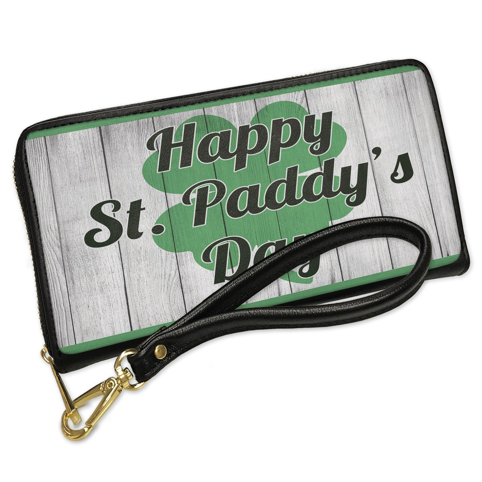 Wallet Clutch Happy St. Paddy's Day St. Patrick's Day Shamrock on Wood with Removable Wristlet Strap Neonblond