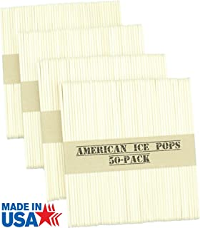product image for American Ice Pop Maker - Frozen Popsicle Mold Wooden Ice Cream Sticks (200 STICKS, Natural)