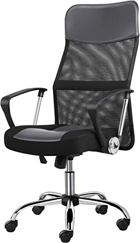 YAHEETECH Video Game Chairs Ergonomic Racing Chair High-Back Mesh Office Chair Height Adjustable Desk Chair Grey