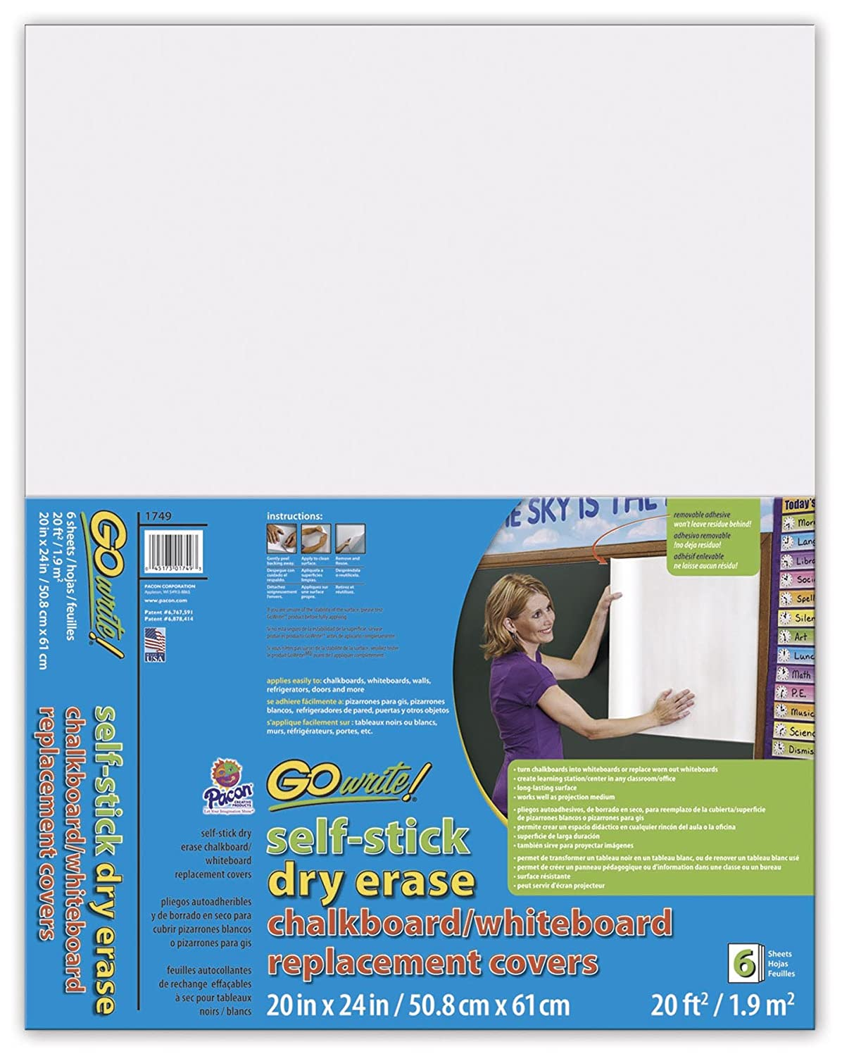Pacon AS8511 Go Write Dry Erase-Sheet, 8.5-Inchx11-Inch, White, 5-Sheet Pacon Corporation