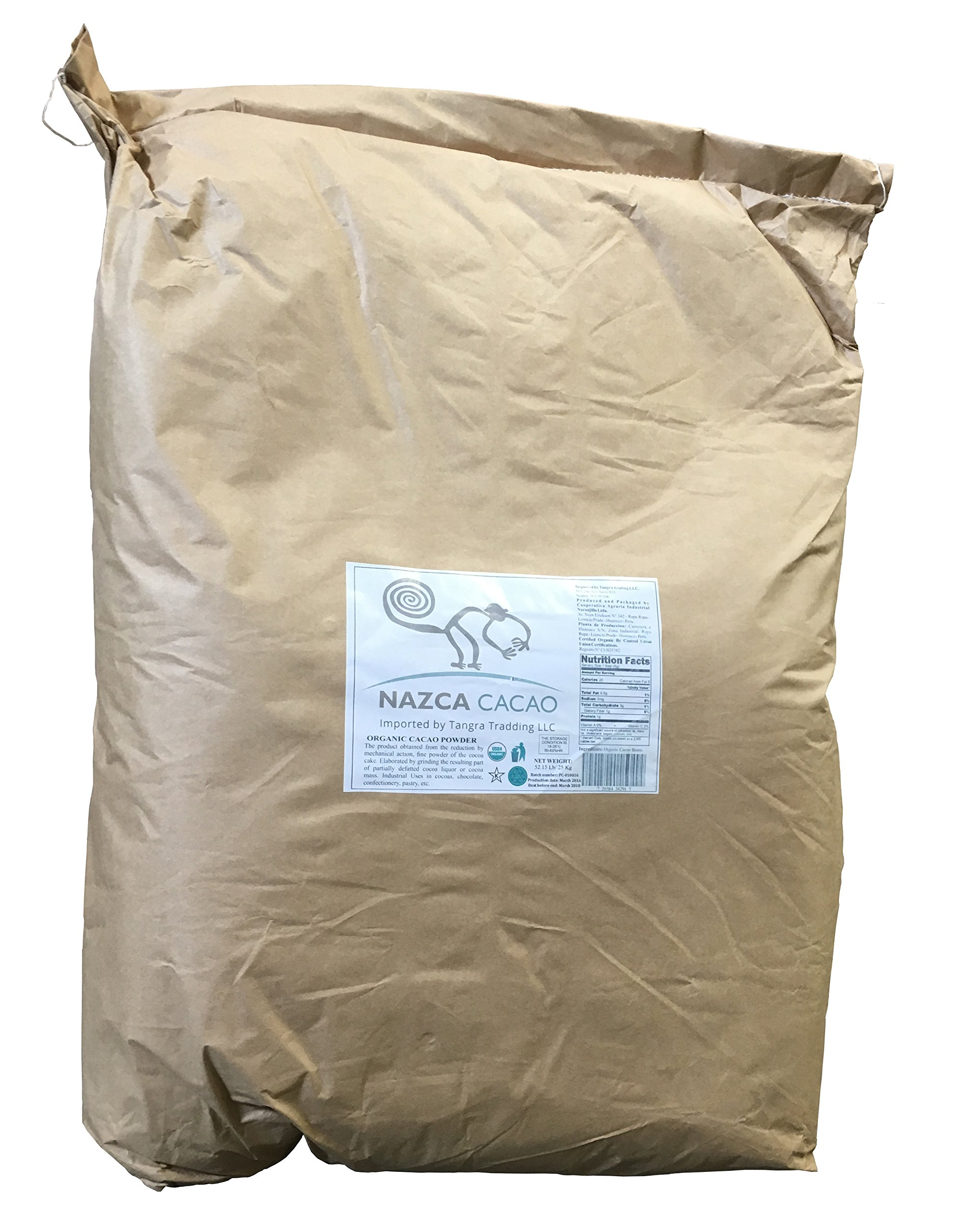 Nazca Foods Organic Cacao Powder - Bulk 52.15lbs (25kg) by Nazca Foods