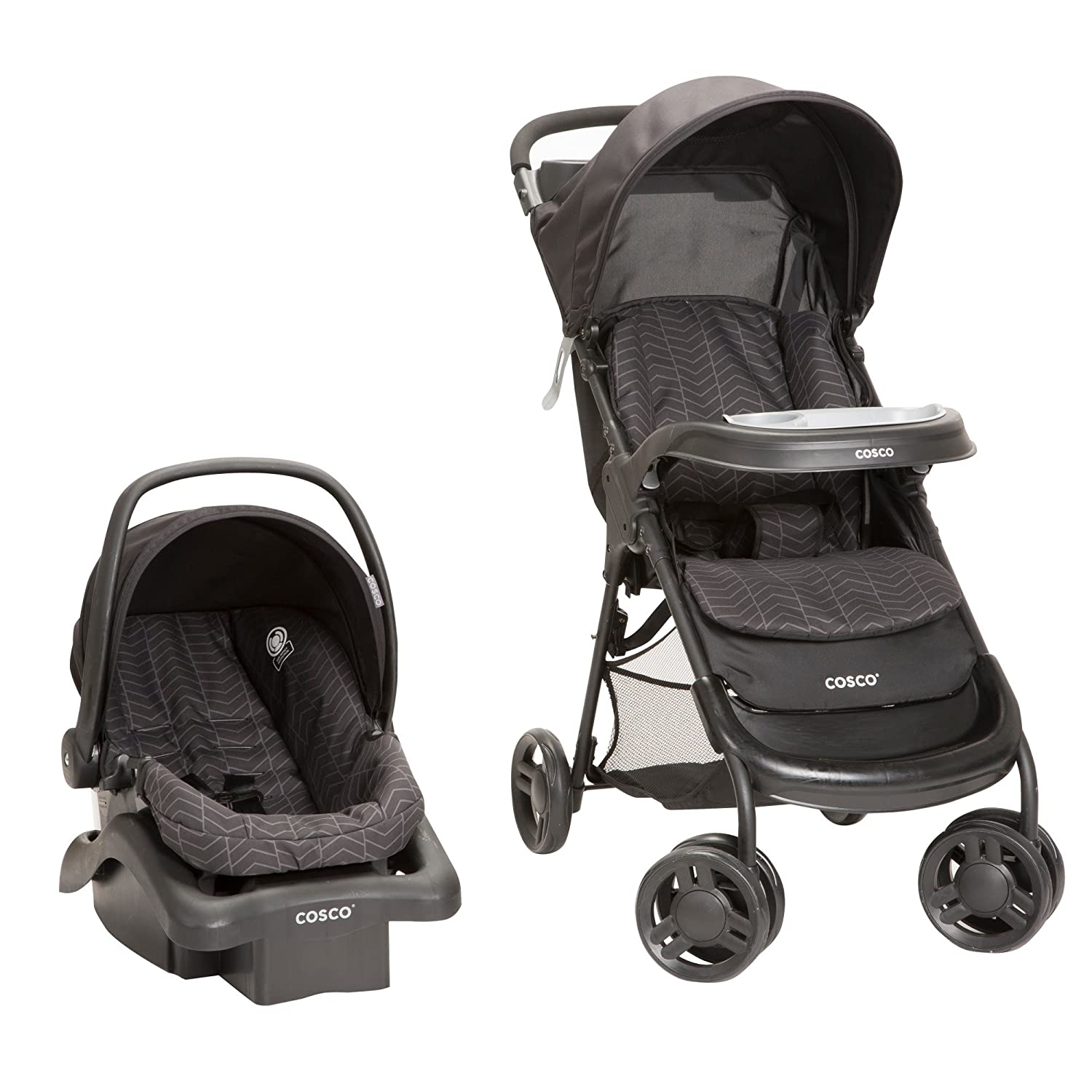 Cosco Lift and Stroll Plus Travel System with Light 'N Comfy Infant Car Seat, Black Arrows Cosco Inc TR372DFL