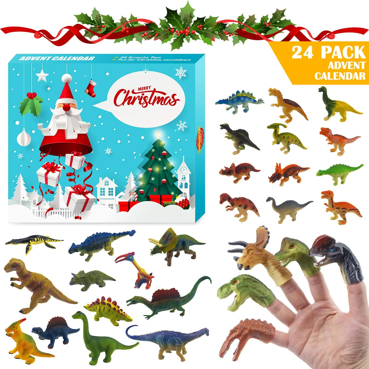 Dinosaur Figures Finger Puppet Christmas Countdown Advent Calendar, T-rex, Velociraptor, Triceratops, Spinosaurus, Pterodactyl Figures for Count Down Xmas Holiday Party Favor Kids Adults Challenge