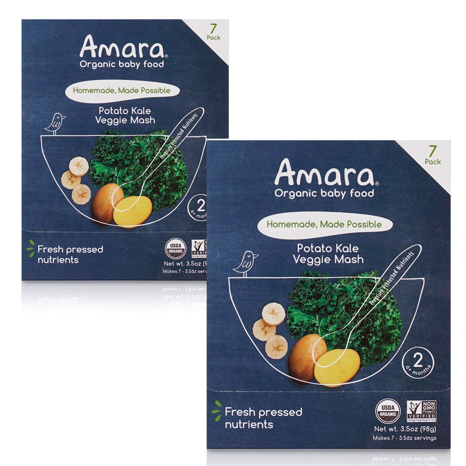 Amara Organic Baby Food | Kale Potato | Homemade Made Possible | Mix with Breastmilk or Water | Certified Organic, Non-GMO, No Added Sugars| Stage 2 | 14 Pouches