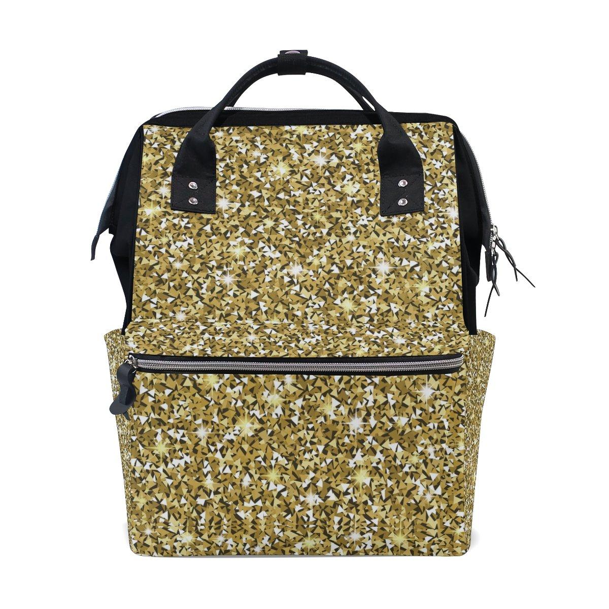 School Travel Backpack Golden Texture Sparkles Laptop Daypack Large Diaper Bag Doctor Bag