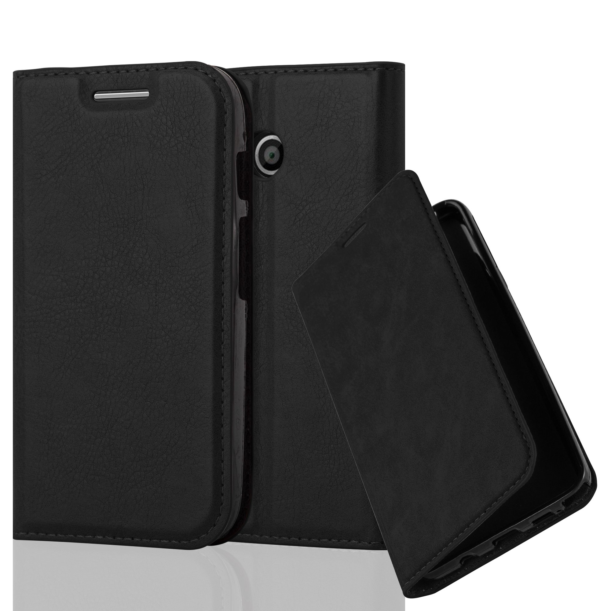 Cadorabo Case works with Lenovo (Motorola) MOTO E1 Book Case in NIGHT BLACK (Design INVISIBLE CLOSURE) – with Magnetic Closure, Stand Function and Card Slot – Wallet Case Etui Cover PU Leather