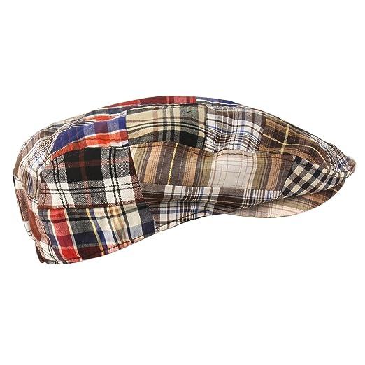 73c130dc7 SK Hat shop Men's Summer Preppy Tartan Plaid Front Snap Flat Golf IVY  Driving Cap Hat Brown