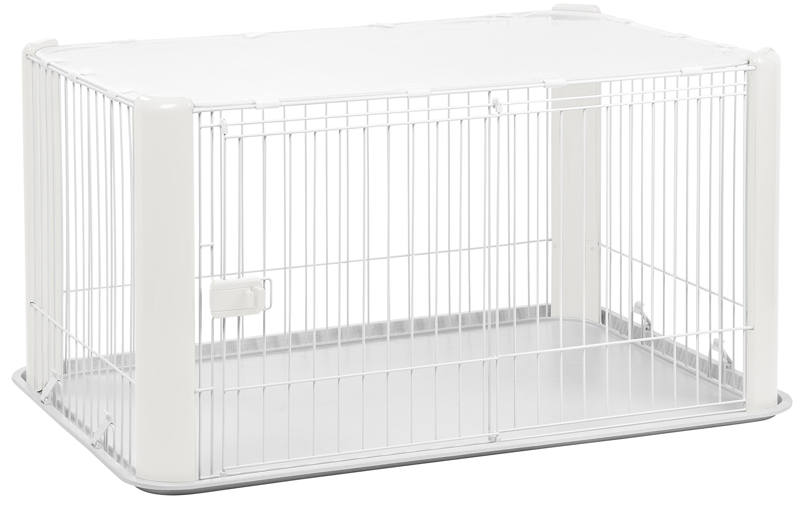 IRIS Large Wire Dog Crate with Mesh Roof, White