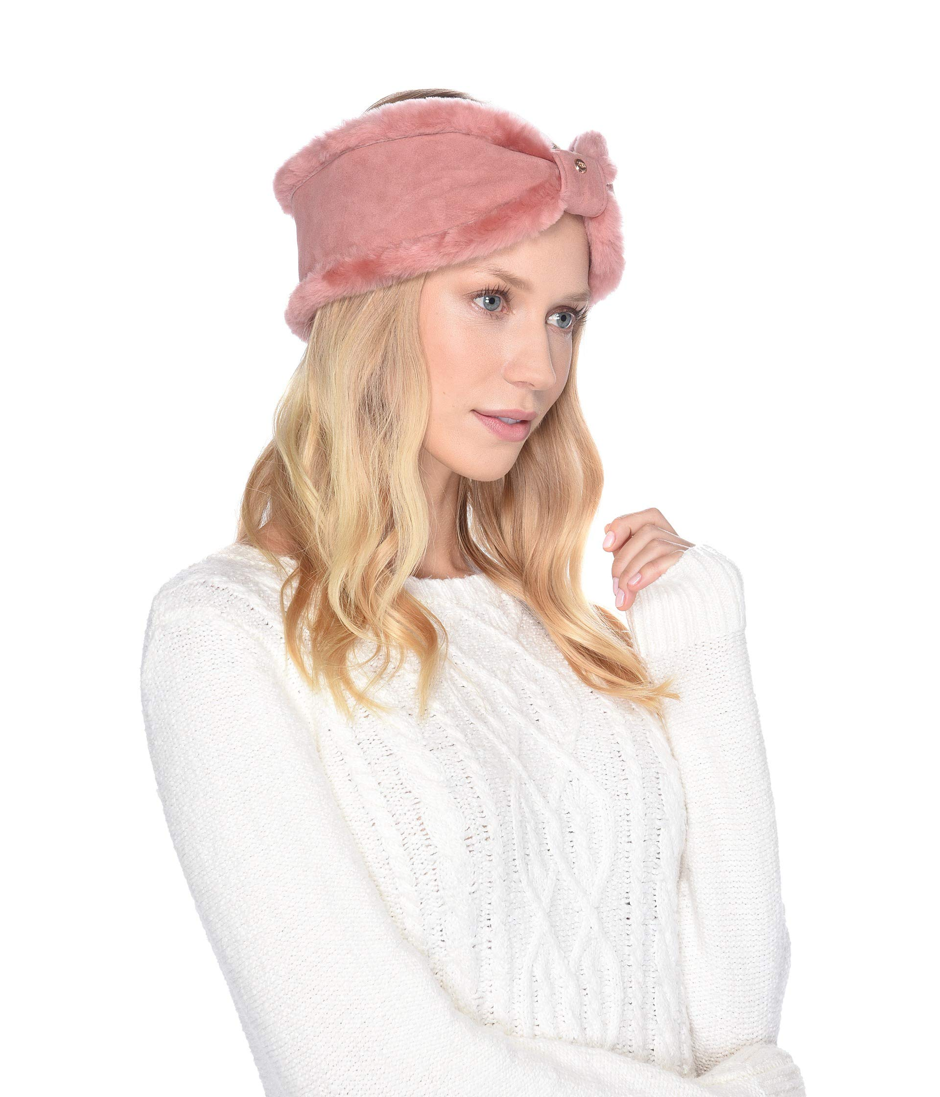 UGG Women's Bow Water Resistant Sheepskin Headband Lantana Pink One Size by UGG