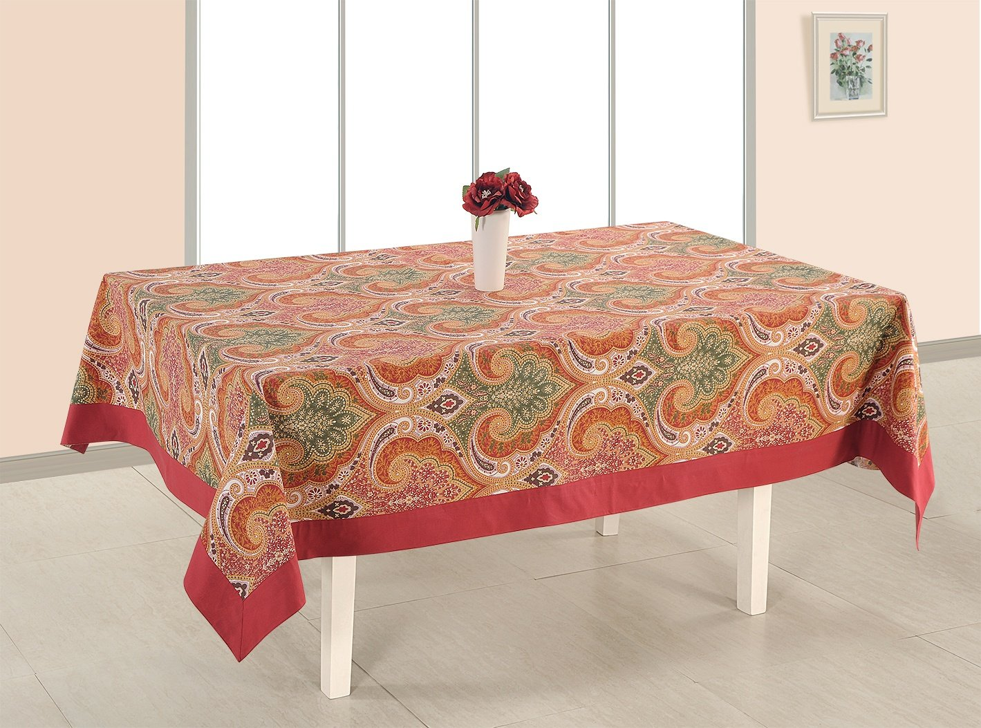 ShalinIndia Cotton Printed Table Cloth Cover Rectangle Table Cover -144x60-Inch,Light Maron Border