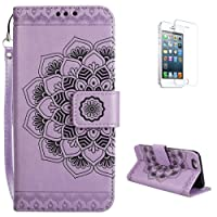 iPhone 5/5S/SE Flip Wallet Case [with Free Screen Protector] KaseHom Premium Soft PU Leather Holster Unique Retro Mandala Embossed Flowers Design [ID Slot Holder] [Kickstand] [Magnetic Closure] All Around Shockproof Folio Bookstyle Cover Pouch Slim Fit for iPhone 5/5S/SE - Purple