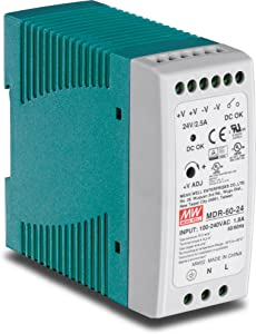 TRENDnet 60 W Single Output Industrial DIN-Rail Power Supply, Universal AC Input, Extreme -20 to 70 °C (-4 to 158 °F) Operating Temp, TI-M6024