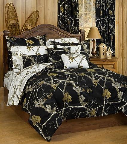 Amazon.com: Realtree AP Black Camo 7 Pc King Reversible Comforter