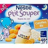 Nestlé Bébé P'tit Souper Lait Carottes Riz - Soupe du soir dès 6 Mois - 2 x 250ml - Lot de 6