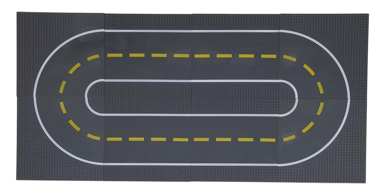 Strictly Briks / ストリクトリーブリックス 道路ベースプレート8枚 25.4x25.4㎝ ビルディングブリック ベースプレート の製品と 道路、街やガレージなどが作れるベースプレート。直線4枚、カーブ4枚。 直線4個、カーブ4個  B01NBYSLWN