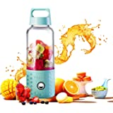 Portable Blender, TOPQSC Smoothie Blender USB Juicer Cup, 17oz Fruit Mixing Machine with 4000mAh Rechargeable Batteries, Detachable Cup, Perfect Blender for Personal Use (FDA, BPA Free) - Blue