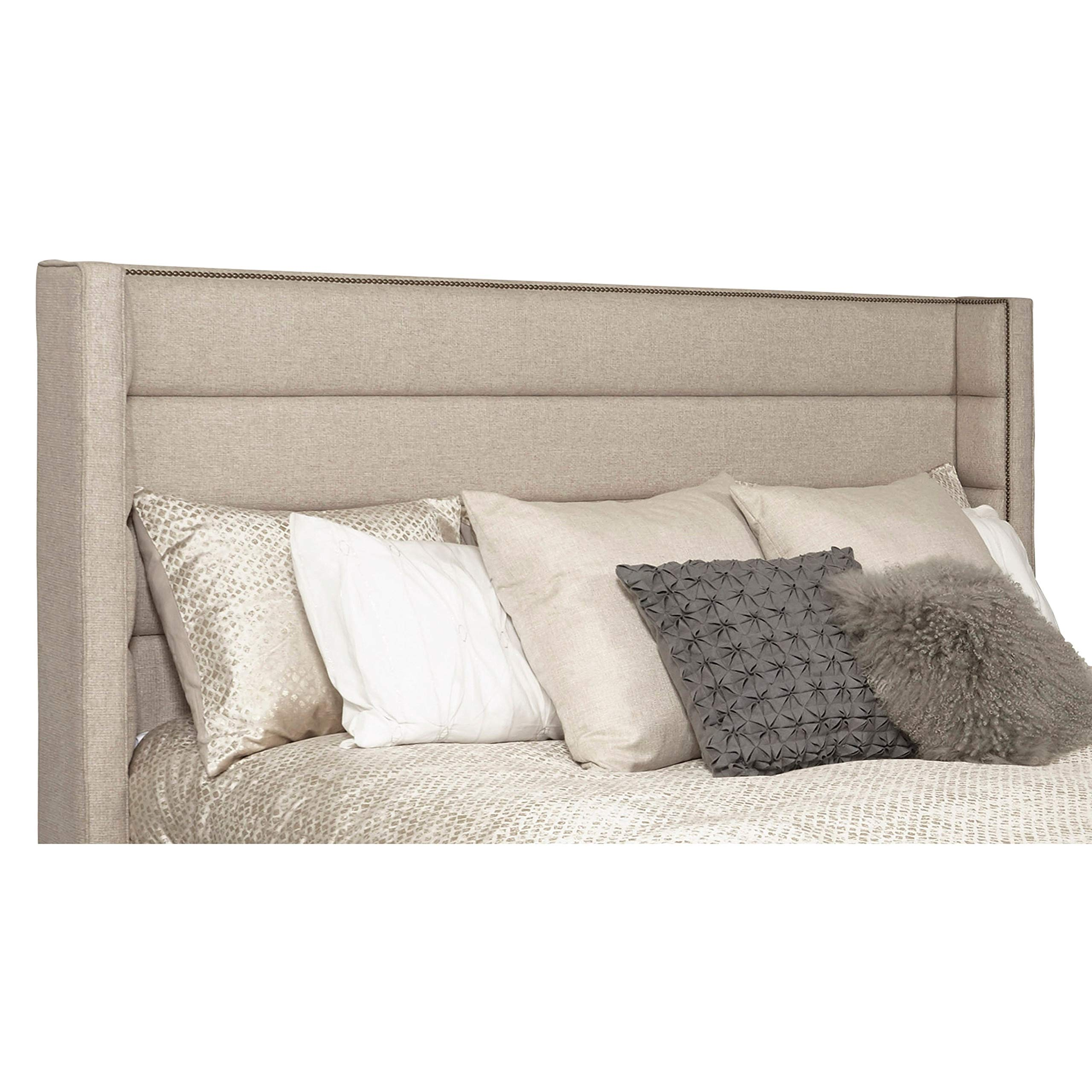 Wingback Channel Tufted Beige Upholstered Queen Headboard with Studs Traditional Fabric Padded by Unknown