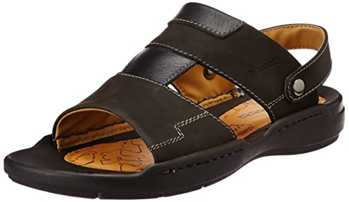 b4c4bfe6bc6 Miraatti Men s Black leather Sandals and Floaters - 11 UK (6953-8A ...