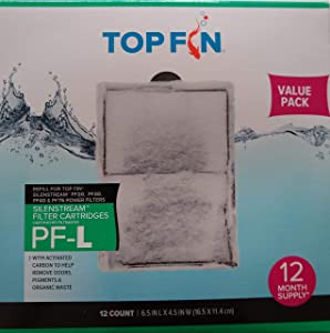 Top Fin Silenstream PF-L Refill for PF20, PF30, PF40 and PF75 Power Filters 6.5in x 4.5- (12 Count) 1 Year Supply