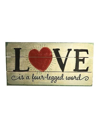 """""""El amor es una palabra de cuatro patas"""" hecho a mano Reclaimed Letrero"""
