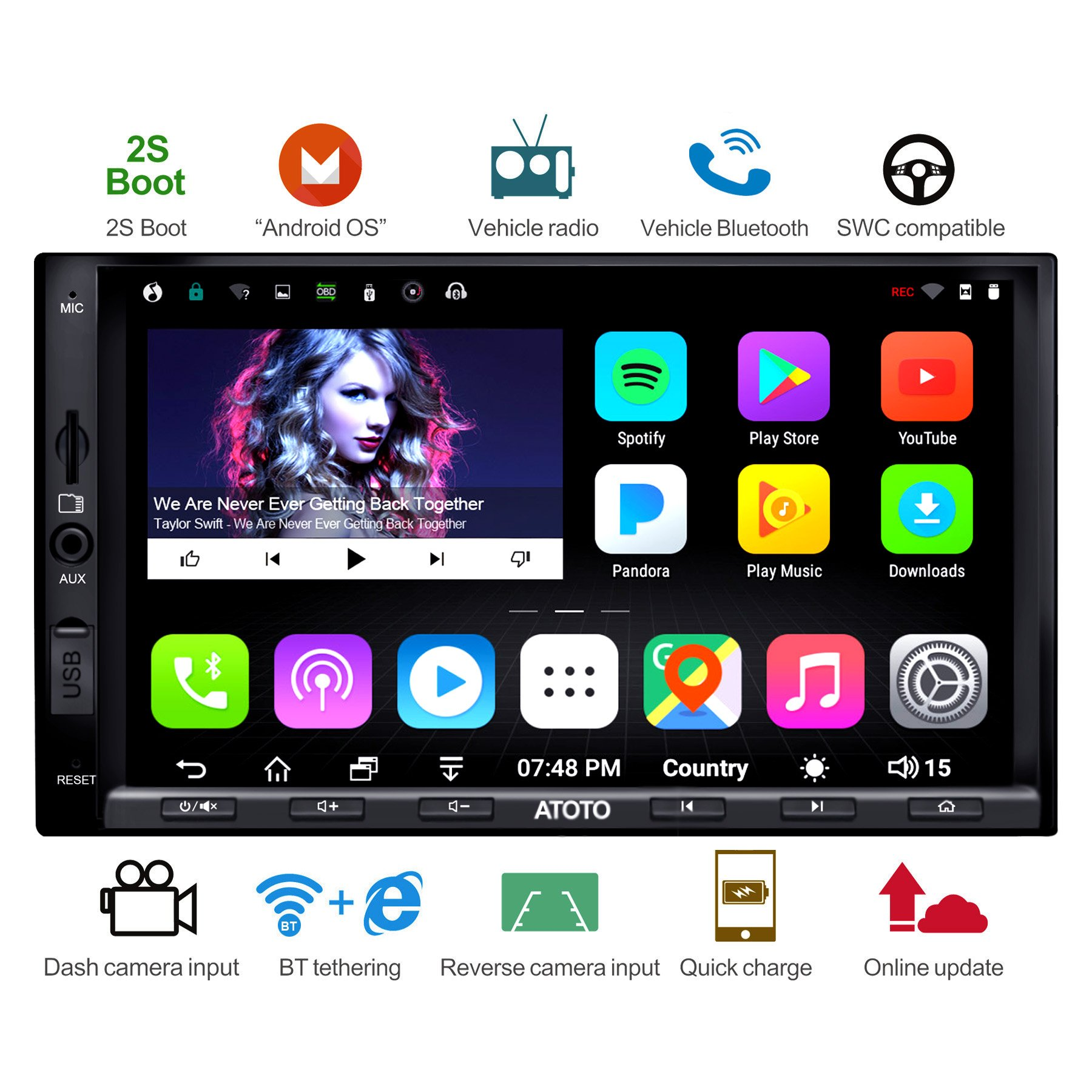 [NEW] ATOTO A6 2DIN Android Car Navigation Stereo with Dual Bluetooth & 2A  Charge -Premium A6Y2721PB 2G/32G Car Entertainment Multimedia Radio,WiFi/BT