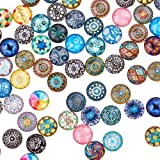 PH PandaHall Pandahall 200PCS 12mm Mixed Color Mosaic Printed Glass Half Round/Dome Cabochons for Jewelry Making