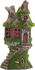 "Exhart Woodland Stone Step Fairy Cottage Garden Statue, Fairy Gardening, Resin, Solar Powered, 7"" L x 7"" W x 12"" H"