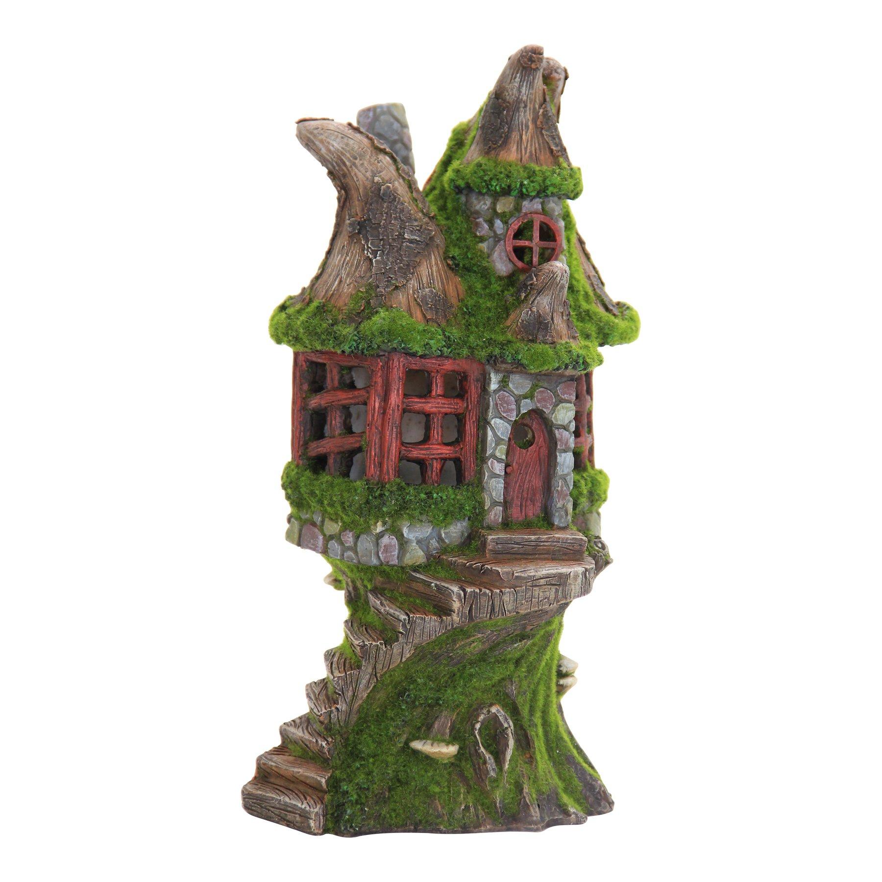 Exhart Woodland Stone Step Fairy Cottage Garden Statue, Fairy Gardening, Resin, Solar Powered, 7'' L x 7'' W x 12'' H