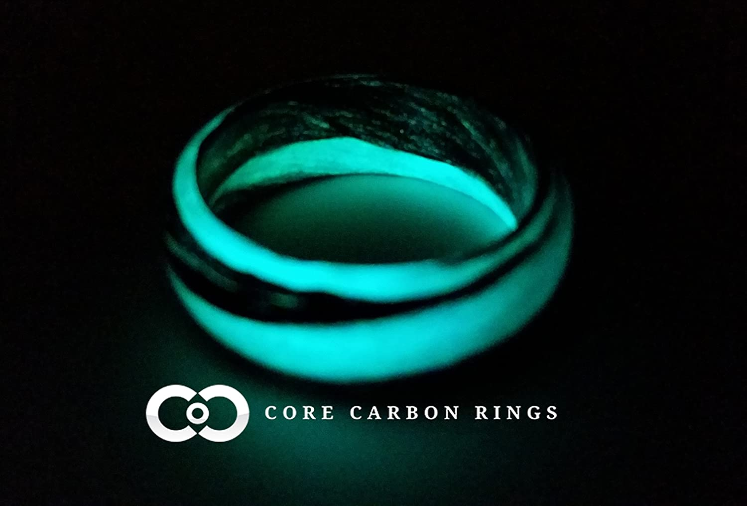 Carbon Fiber Marbled Glow Ring- Teal and Black