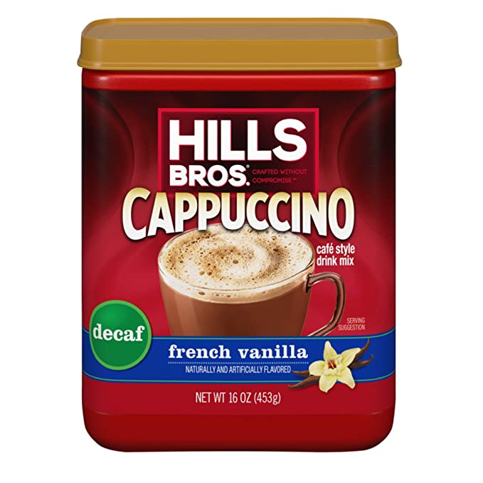 ihocon: Hills Bros. Instant Decaf French Vanilla Cappuccino Mix 16oz Container (16 Ounces) 低咖啡因法式香草卡布奇諾即溶咖啡